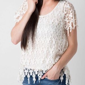 Miss Me Crochet Top in Natural, EUC